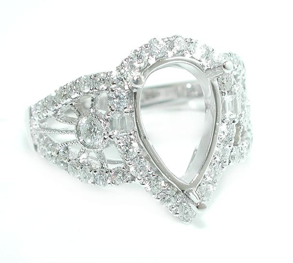 1 06 CT Jumbo Pear Halo Filigree Vintage Style Shank DIAMOND Ring Setting 14K