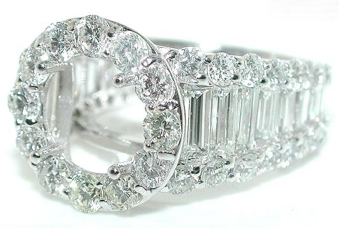 5 CT ROUND HALO DIAMOND Mounting RING Setting 18 KW