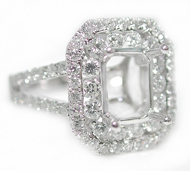 1 25CT Double Halo Emerald Cut w Rounds Split Shank Engagement Ring Setting