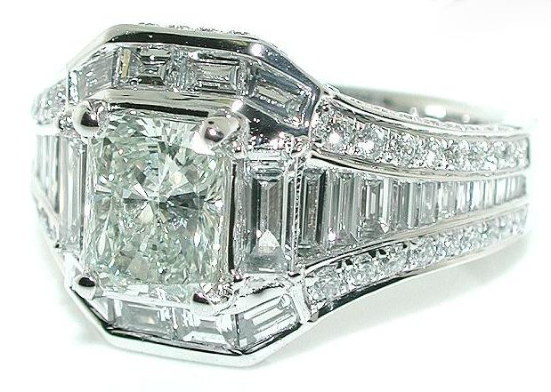 2 5CT Rectangular Radiant DIAMOND Engagement RING 14 KW